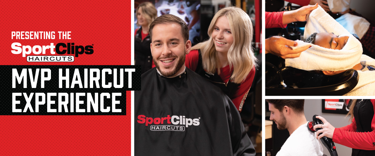 The Sport Clips Haircuts of Eldersburg  MVP Haircut Experience with stylist giving a client a haircut, a hot towel placed on his face, and using a massager on a clients upper back